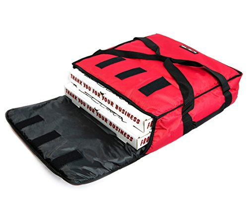Red Polyester Insulated Pizza / Food Delivery Bag 12″ - 14″- Professional Pizza Delivery Bag- Moisture Free- Holds Multi Pizza Boxes. (12-14, red) (Strips Polyester Carrier)