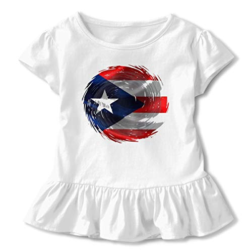 Baohuju Puerto Rican Flag Inside Hurricane Maria Baby Girls' Short Sleeve T-Shirt Toddler Tops White