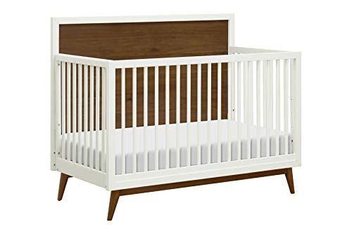 (Babyletto Palma 4-in-1 Convertible Crib, White/Natural Walnut)