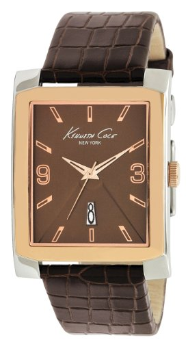 Kenneth Cole New York Men's KC1783 Classic Rose Gold Bezel Rectangle Watch