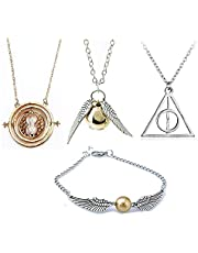 OPENDGO Necklace Merchandise for HP Fans -Time Turner Deathly Hallows Golden Snitch for Harry Potter Fans Gifts Collection Magical Cosplay Costume Jewelry Gift