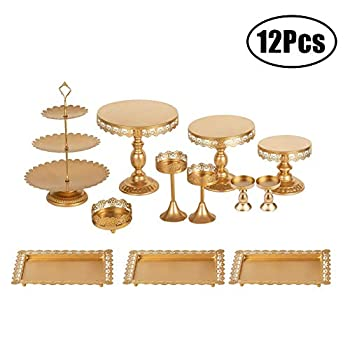 Image of Home and Kitchen Set of 12 Pieces Cake Stands Iron Gold Cupcake Holder Fruits Dessert Display Plate for Baby Shower Wedding Birthday Party Celebration Home Decor Serving Platter