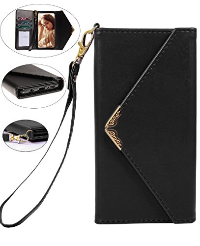 Samsung Galaxy S9 Case, Galaxy S9 Wallet Case, Crosspace Envelope Flip Handbag Shell Women Wallet PU Leather Slim Holster Magnetic Folio Cover with Card Holder Wrist Strap for Galaxy S9-Black - Safety Wrist Lanyard