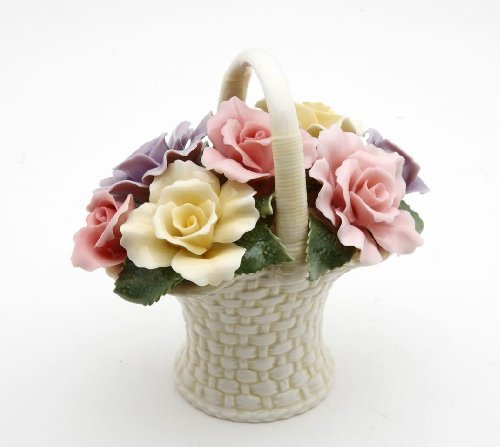 Cosmos Gifts 10228 Fine Elegant Porcelain Rose Flower Basket, 4-3/8
