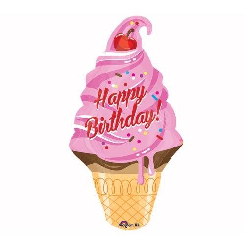 Burton & Burton Happy Birthday Ice Cream Cone Foil Balloon, Multicolor, 32