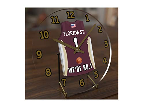 College Basketball USA - We're Number ONE College Hoops Jersey Themed Clocks - Support Your Team !!! (Florida State Seminoles)