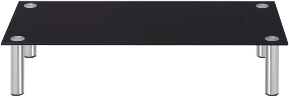 Tidyard Mesa para TV Mueble TV Salón Soporte de TV Elevador de Monitor LCD Mesa Televisión Mueble Comedor Televisor Bajo Cristal Negro 80x35x17cm: Amazon.es: Hogar