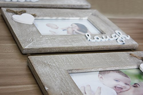 """Yaetm Live Laugh Love Collage Hanging Picture Frame 4x6"""", Solid Wood 3 Photo Frames Set, Wall Mount Verticval Display, Rustic Grey - 【Unique Design】: Made of rustic solid wood, shabby chic style, high definition real glass, Each frame attached a cute HEART and live laugh love, Hanging on wall with a rope. This haning frame is carefully designed for sweet family wall decor. 【DIMENSION】: Total display dimension is 30 x 9.5 inch with hanging rope. Each 4x6 rustic frame outline size is about 9.5x7.5 inch, holds 4 x 6 inch photographs/pictures/portraits/art prints. 【Easy to use & install】: With the hanging rope, the photo frame can be easily mounted on the wall. Each frame comes with easy opening tabs at the back to make the photograph changing more easy. - picture-frames, bedroom-decor, bedroom - 41LCV1sTDDL -"""