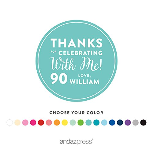 Andaz Press Personalized Round Circle Labels Stickers, Milestone Collection, Thanks for Celebrating with Me 90th Birthday Number Style, 40-pack, Custom Name Color, Decorations Party Favors, Gifts