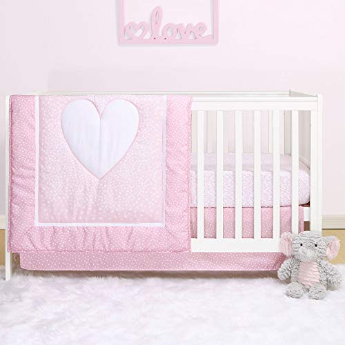 Pink Hearts 4-Piece Baby Girl Crib Bedding Set by Belle