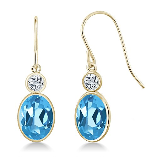 (Gem Stone King 3.28 Ct Oval Swiss Blue Topaz and White Topaz 14K Yellow Gold Earrings)