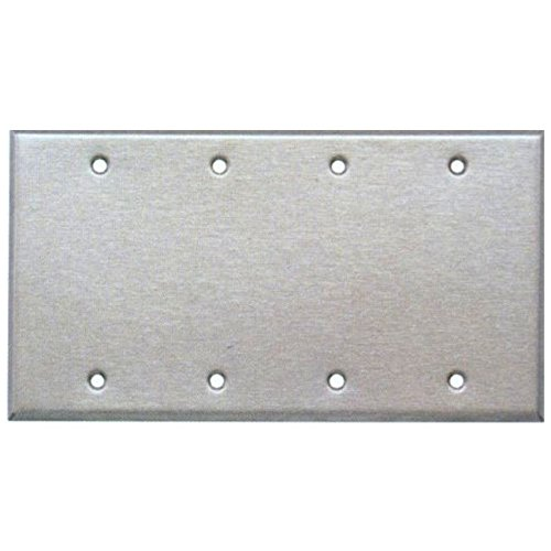(4 Gang Stainless Steel Blank Wall Plate)