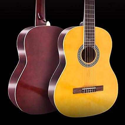XUJJA Guitarra clásica de Tilo Redondeado de 39 Pulgadas para Principiantes para Practicar la Guitarra Jugando profesionalmente (Color: Amarillo, tamaño: 39 Pulgadas)