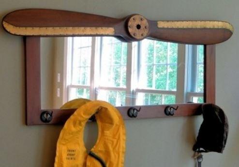 Wood Propeller Coat Rack Mirror by A Simpler Time