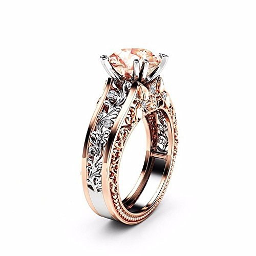 Price comparison product image KMG Women Color Separation CZ Diamond Rose Gold Floral Wedding Engagement Ring (9,  Coffee)