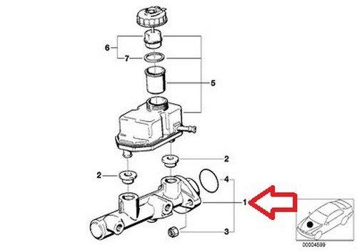 BMW OEM Original Brake Master Cylinder E38 E39 E53 34 31 1 165 544 740i 740iL 740iLP 750iL 750iLP 525i 528i 530i 540i M5 X5 3.0i X5 4.4i