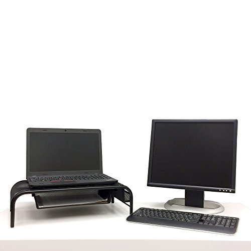 Large Product Image of Mind Reader MESHMONSTA-BLK Metal Mesh Monitor Stand and Desk Organizer with Drawer, Black