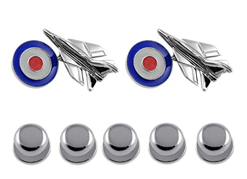 RAF Roundel Sterling Set Dress with Shirt Silver Jet Studs Cufflinks Fighter Gift PqxrXxI