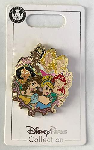 Disney Pin 131659 Princess Group Pin Tiana, Aurora, Rapunzel, Jasmine, Belle, Cinderella and Ariel