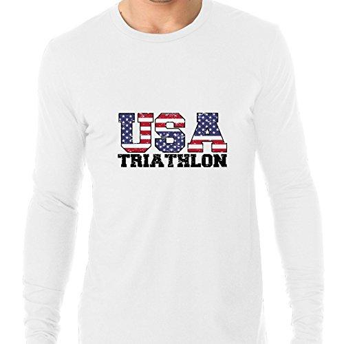 USA Olympics - Triathlon - Vintage Letters Men's Long Sleeve - Triathlon Usa