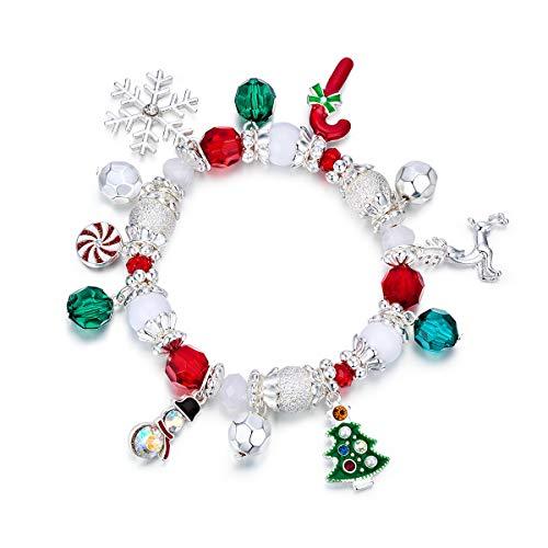 RareLove Christmas Snowflake Charm Beaded Bracelet Stretch Strand Elastic Crystal Silver Tone Dangle Xmas Tree Reindeer Women Girls