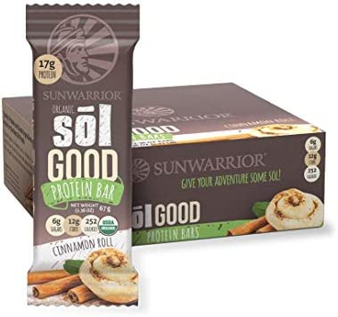Sunwarrior Sol Good Protein Bars Cinnamon Roll, Organic, 12 Riegel