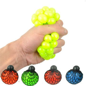 Price comparison product image Squishy Colored Mesh Stress Reliever Ball Squeeze Stressball Party Bag Fun Gift