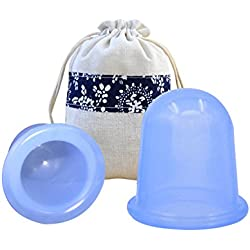 MEILI Silicone 2pcs Cup Set Cupping Therapy for Cellulite Body Massage Suction Cups Therapy 1 (Large) size and 1 (Medium) size