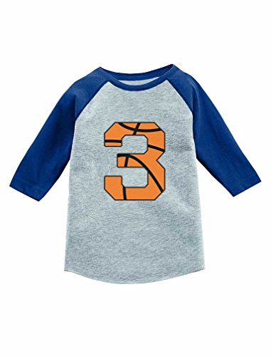 3 Years Old Birthday Gift Basketball 3/4 Sleeve Baseball Jersey Toddler Shirt 3T (Basketball Jersey Tee)