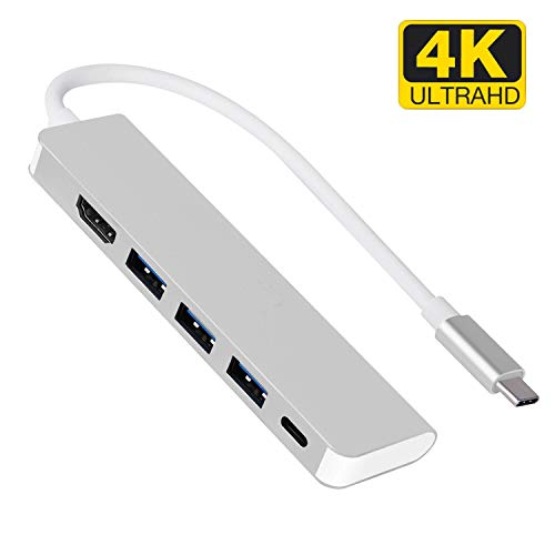 USB C Hub Multiport HDMI Adapter: 5-in-1 USB C Adapter with 4K USB C to HDMI, 3 USB 3.0 Ports, PD Charging Port for MacBook Pro 2016/2017/2018, ChromeBook, XPS, and More
