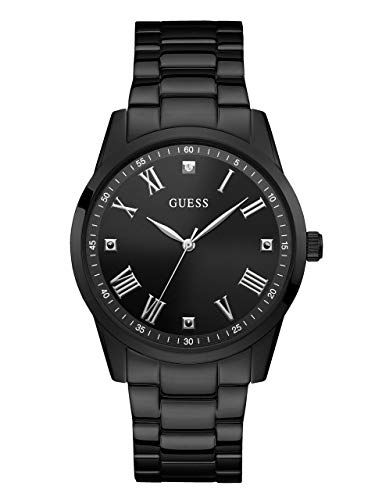 - GUESS  Stainless Steel Black Ionic Plated Bracelet Watch with Black Genuine Diamond Dial + Silver-Tone Roman Numerals. Color: Black (Model U1194G4)