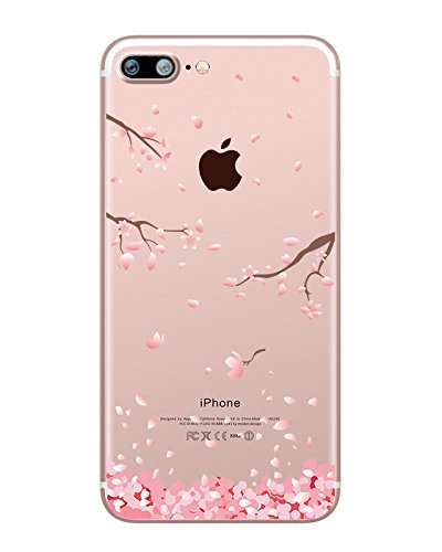 Clear iPhone 7 Plus Case, Hepix Cherry Blossom Floral Print Case Soft TPU Protective Transparent Back Cover [5.5 inch] Cherry Phone Cover