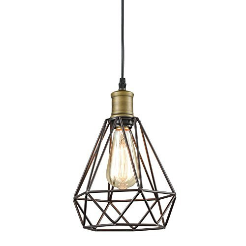 YOBO Lighting Vintage Oil Rubbed Bronze Polygon Wire Pendant Light Art Deco by YOBO Lighting