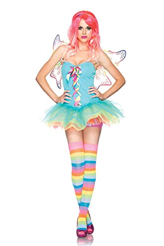 Rainbow Fairy Adult Costumes (Leg Avenue Women's 3 Piece Rainbow Fairy Costume, Multicolor, Small)