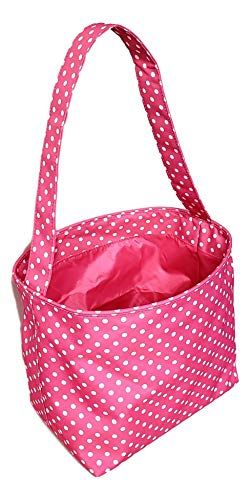 Fabric Bucket Basket Tote Bag - Children's Toys - Easter - Baby - Can Be Personalized (Pink with White Small Dots - No Embroidery)