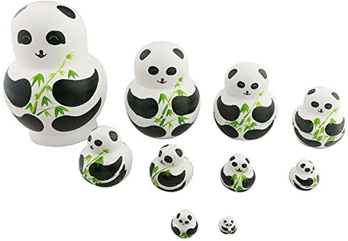 Winterworm Perfect Mother's Day Gift Set of 10 Handmade Cute Lovely Panda Bear Family and Bamboo Nesting Doll Matryoshka Russian Doll Popular Kids Christmas Birthday Gifts Toy by Winterworm