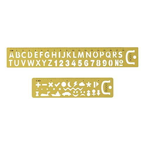 Amupper Letter Number Ruler Stencils, Portable Metal Bookmark Clip with Good Luck