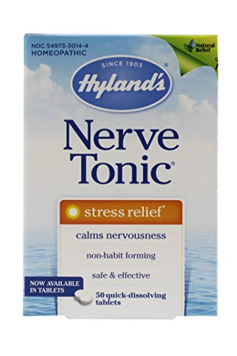 Hyland's Nerve Tonic Quick Dissolve Tablets, Stress Relief, 50 Tablets Per Bottle (2 Bottles)