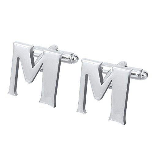 Salutto Men's Letter M Cufflinks 1 Pair with Gift Box (M) (Anniversary Steel Stainless Cufflinks)