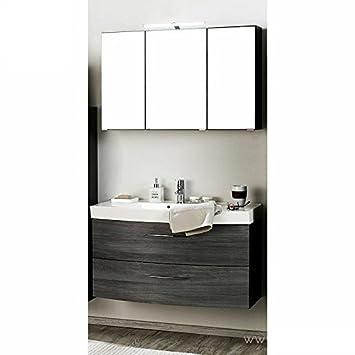 Badmöbel Set 2 Teilig ○ Eiche Rauchsilber, Graphitgrau ○ Badezimmer  Komplettset: Waschtisch Mit