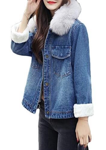Cromoncent Women Fleece Thicken Plus Size Fall/Winter Denim Jean Parkas Coats Denim Blue L by Cromoncent