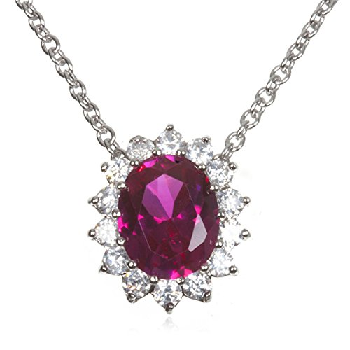 Rhodium Plate Silver Synthetic Ruby Oval Slide Cz (Oval Ruby Slide)