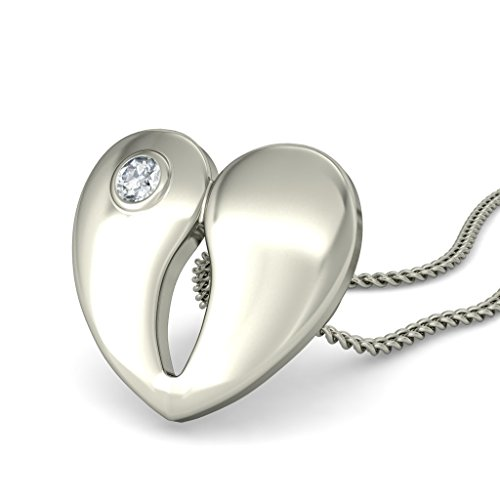 18 K Or Blanc 0,03 CT TW Round-cut-diamond (IJ | SI) Amour Pendentif