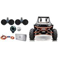 Pair Rockville Dual 8 Speakers+Amp+Bluetooth Control For Polaris RZR/ATV/UTV