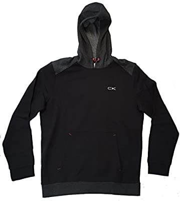 Calvin Klein Mens Performance Athletic Hooded Sweatshirt (Large, Black)