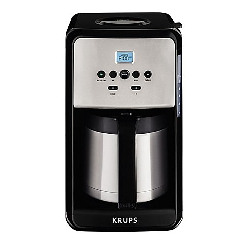KRUPS Savoy 12-Cup Programmable Coffee Maker in Black/Stainless Steel