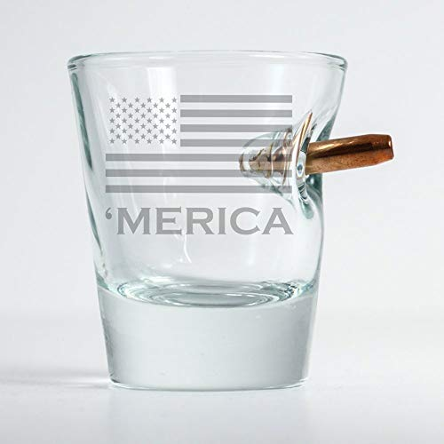 BenShot Original Bullet Shot Glass with 'merica (Best Things To Have In A Man Cave)