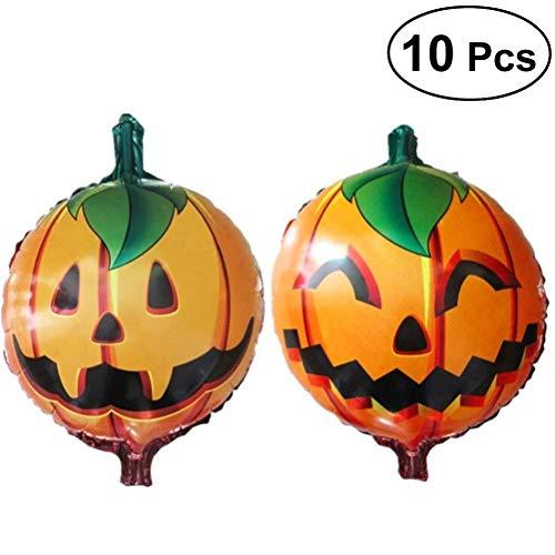 BinaryABC Halloween Pumpkin Foil Ballons, Halloween Balloons,Thanksgiving Day Mylar Balloon, 10pcs]()