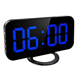 KeeKit Digital LED Alarm Clock, Large 6.5 Mirror Surface Alarm Clock with Dual USB Charging Ports, Snooze Function, Auto/Manual Adjustable Brightness, 12/24H Display for Home, Bedroom, Office