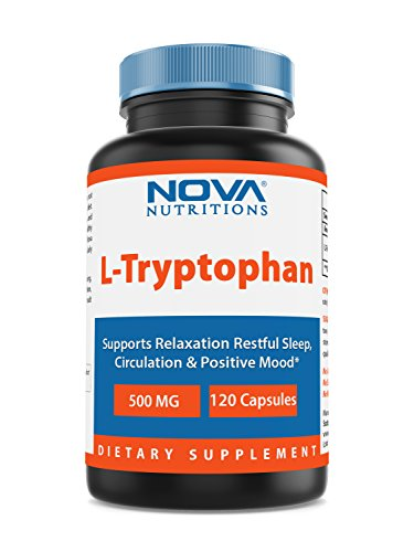 - Nova Nutritions L-Tryptophan 500 mg 120 Capsules - Tryptophan Supplements for Natural Sleep Aid, Stress Relief, Circulation & Immune Support